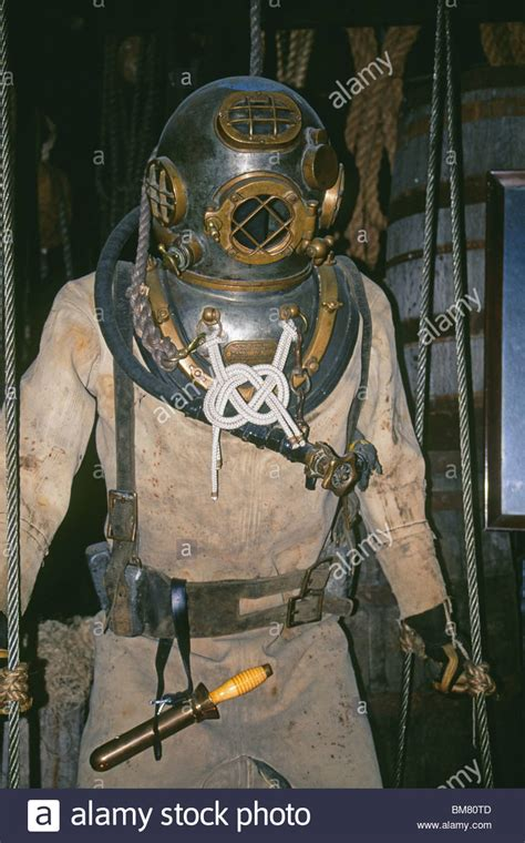 A US Navy hard hat diving suit and helmet Stock Photo - Alamy