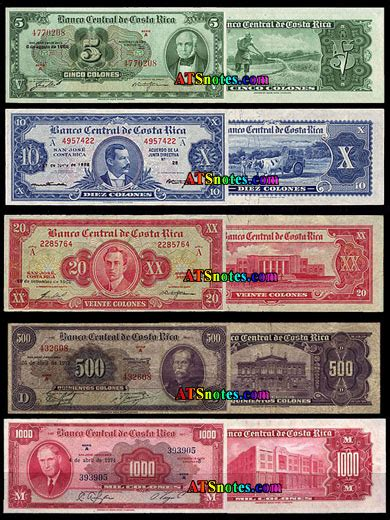 Costa Rica banknotes - Costa Rica paper money catalog and