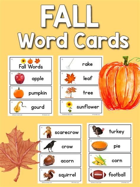 Fall Picture Word Cards - PreKinders