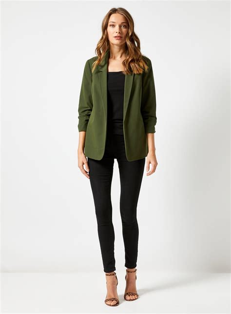 Dorothy Perkins Synthetic Green Ruched Sleeve Jacket - Lyst