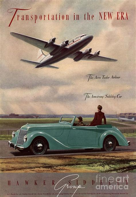 1940s Uk Aviation Hawker Siddeley Cars Drawing by The
