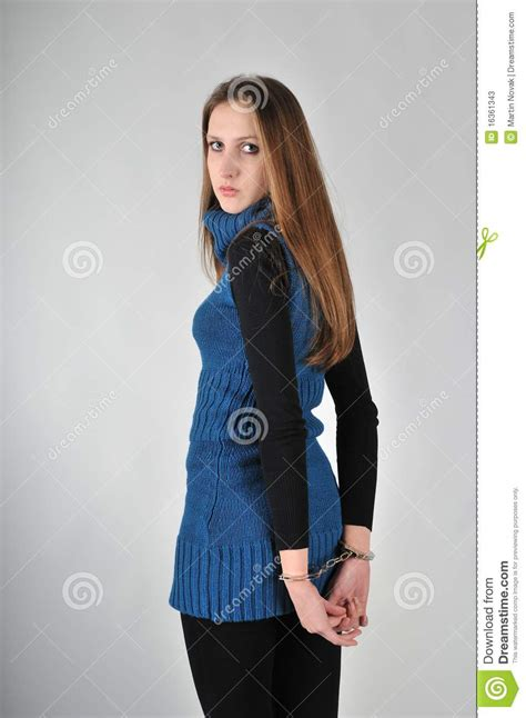 Woman With Handcuffs - Studio Shot Stock Photos - Image